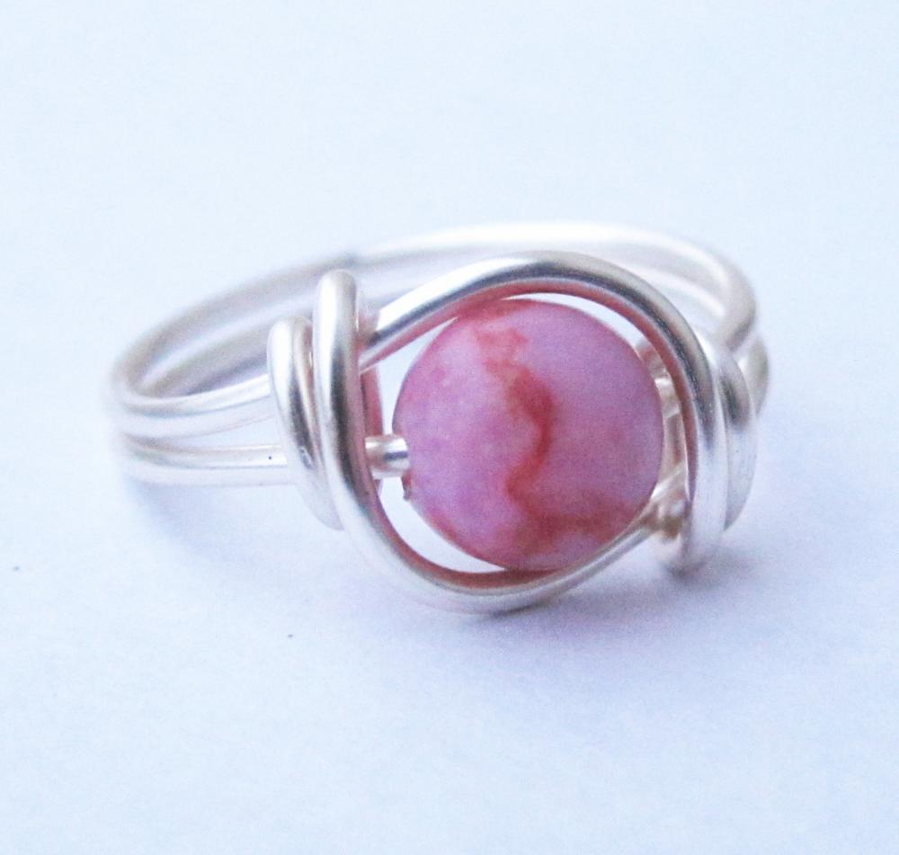Silver Pink Matrix Jasper Gemstone Ring Custom Size