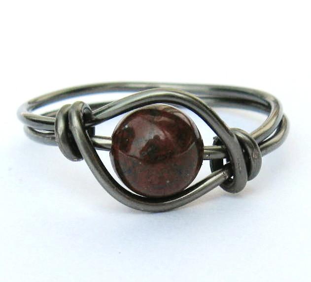 Gunmetal Red Poppy Jasper Gemstone Ring Custom Size